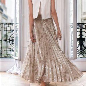 AnthroMoulinette Soeurs Pleated Metallic Skirt